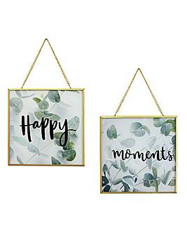 Happy Moments Glass Print Set of 2