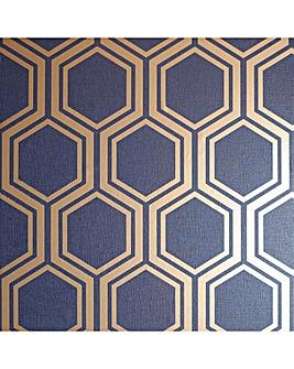 Luxe Hexagon Navy Wallpaper
