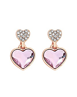 Jon Richard Rose Gold Dancing Heart Drop Earrings Made With Swarovski Crystals