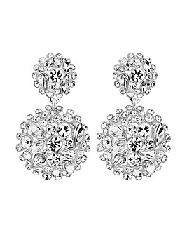 MOOD Silver Plated Crystal Drop Earrings