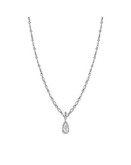 Alan Hannah Silver Plated Cubic Zirconia Classic Navette Pear Drop Necklace