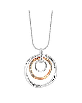 Two Tone Crystal Ring Short Pendant Necklace