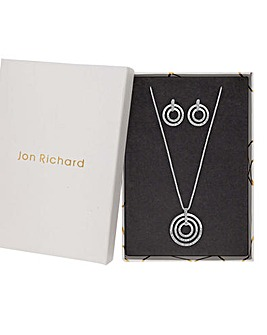 Jon Richard Pave Disc Pendant Set