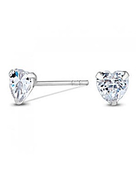 Sterling Silver 925 Mini Cubic Zirconia Heart Stud Earrings