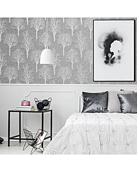 Charcoal Landscape Textured Floral Wallpaper