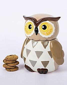 Owl Cookie Jar with Cookies