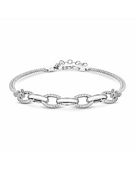 Simply Silver Textured Link Bracelet