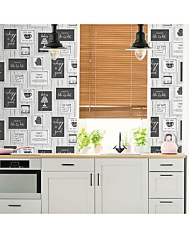 Contour Framed Quotes Black / White Heavy Weight Vinyl Wallpaper