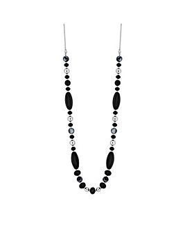 MOOD Long Black Beaded Rope Necklace