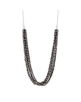 MOOD Black Glass Bead Multirow Necklace