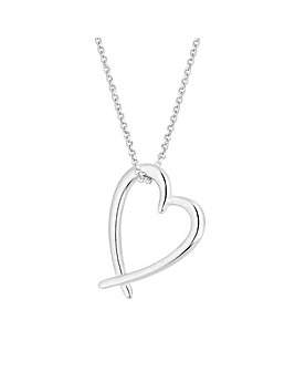 Sterling Silver 925 Open Heart Pendant Necklace