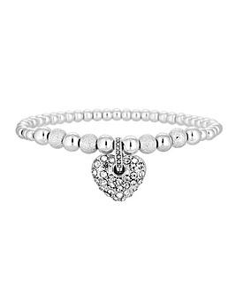 MOOD Silver Crystal Pave Heart Bracelet