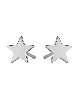 Simply Silver Polished Sterling Silver #Star Stud Earring