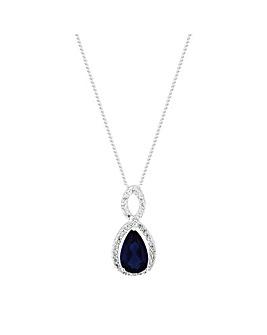 Simply Silver Blue Teardrop Pendant