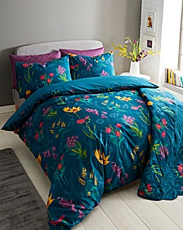 Ingrid Teal Reversible Duvet Cover Set