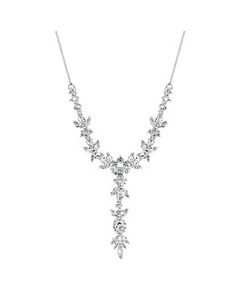 Alan Hannah Leaf Crystal Drop Necklace