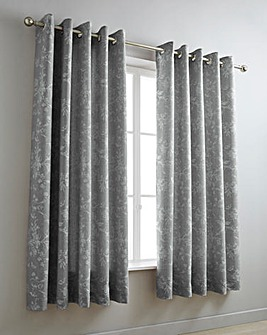 Sophia Jacquard Grey Eyelet Curtains
