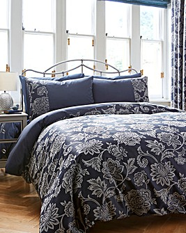 Navy Orla Jacquard Duvet Cover Set