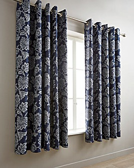 Navy Orla Jacquard Eyelet Lined Curtains