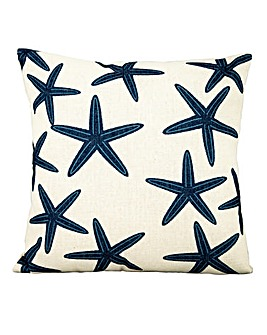 Blue Star Fish on White Scatter Cushion