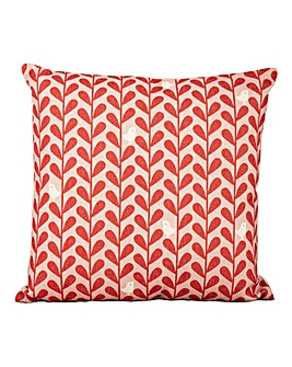 White Birds on Red Leaf Cushion