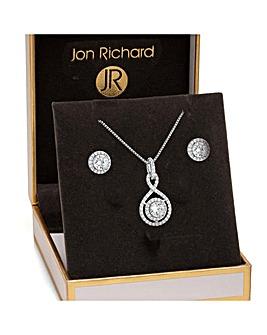 Jon Richard Infinity Pendant Earring Set