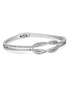 Jon Richard Rhodium Pave Knot Bangle