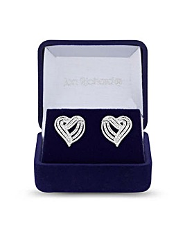 Jon Richard Cubic Zirconia Heart Studs