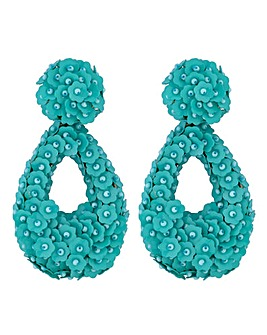 Mood Turquoise Sequin Flower Earrings