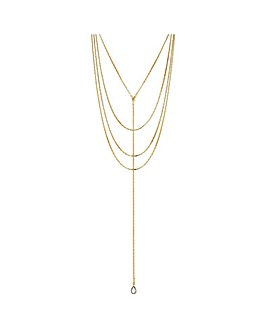 Mood Gold Slinky Chain Multirow Necklace
