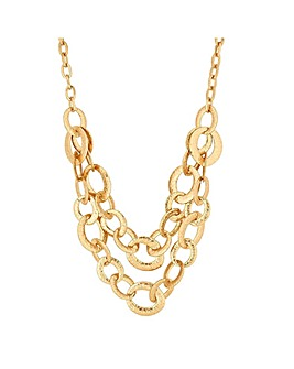 Mood Gold Texture Link Multirow Necklace