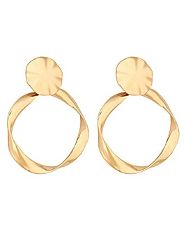 Mood Gold Stud Twist Drop Hoop Earrings