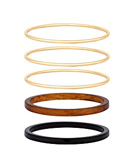 Mood Tortoishell Resin Bangle Pack