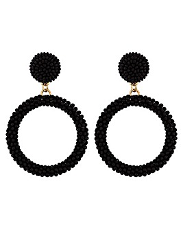 Mood Black Seed Bead Hoop Earrings