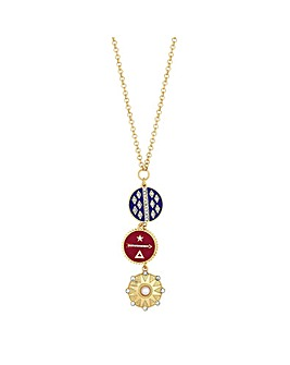 Mood Enamel Disc Drop Pendant Necklace