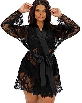 Figleaves Curve Luxury Lace Short Kimono