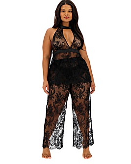 figleaves Curve Luxury Lace Halter Neck PJ Set