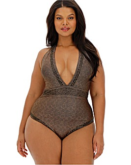 Figleaves Curve Warrior Embellished Plunge Swimsuit