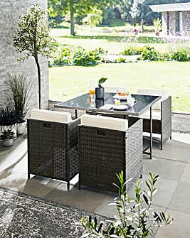 Maine 4 Seat Rattan Cube Dining Set