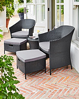 Hereford 5 Piece Rattan Egg Bistro Set