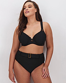 Figleaves Curve Sienna Textured Buckle & Button Bikini Top