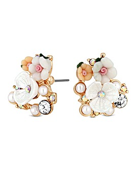 Mood Mix Media Flower Stud Earrings