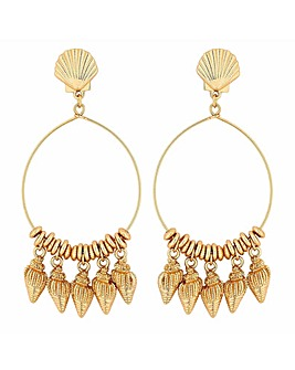 Mood Gold Cast Shell Charm Hoop Earrings