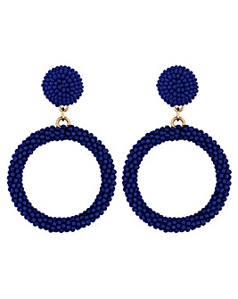 Mood Blue Seed Bead Hoop Earrings