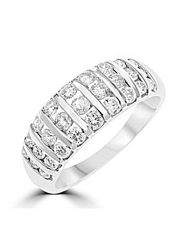 9ct White Gold 1 Carat 3 Row Band Ring