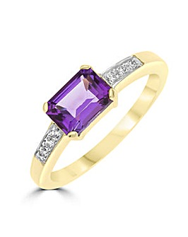 9ct Amethyst and CZ Ring