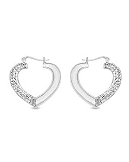 Crystal Glitz Silver and Crystal Large Puffed Heart Earrings