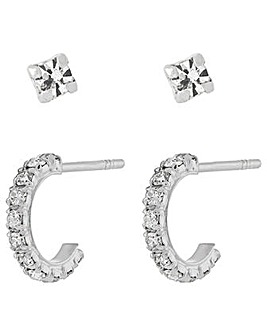 Accessorize Sparkle Hoop & Stud Set