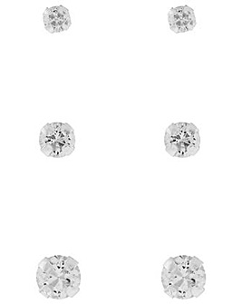 Accessorize 3X Plain Crystal Stud Set