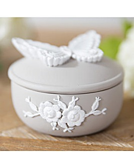 Butterfly Resin Grey Trinket Box